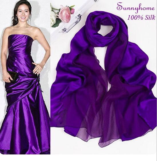 Derlingas šalikas, violetinė skara moterims100% Satino šilkas - Drabužių priedai