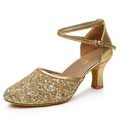 ФОТО New design fashion buckle straps sequines pumps shoes woman med high heels gold silver party shoes womens TG1405