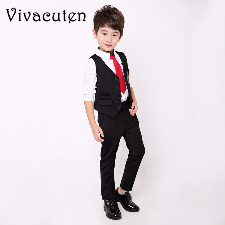 School Uniform for Boys Brand Wedding Suit Gentleman Kids Vest Shirt Pants 3pcs Formal Party Suit Children Clothing Set F063 winter children boys formal sets 5 pcs woolen blend coat pants vest shirt tie costume wedding birthday party gentleman boy suit