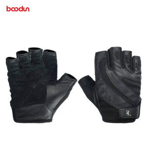 Image 2 - Boodun Genuine Leather Gym Gloves Men Women Breathable Crossfit Fitness Gloves Dumbbell Barbell Weight Lifting Sports Equipment