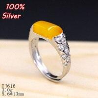 100% de plata de ley 925 de la joyería 5.6*13mm Anillo Ajustable En Blanco para mujer, Base Ajuste Bandeja Cuadrada de Piedra platino de Plata de Placa
