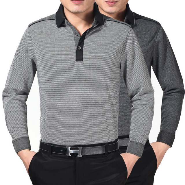 8e128e7a2ea0 Men Polo Shirt 2019 New Winter Mens Long Sleeve Knit Shirts Lapel Business  Casual Loose Middle-aged Dad Fitted Polos