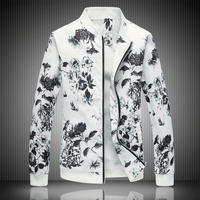 2018 Spring Men's Jacket Prints, Plus Size Fashion Youth Jacket ,Summer Men's White Suits Coat M 5XL 6XL