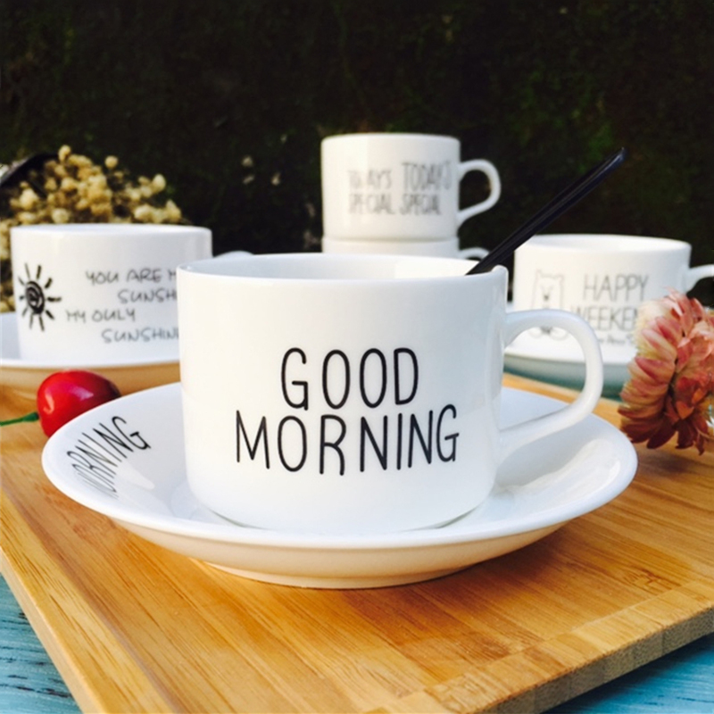 High Quality Cartoon Good Morning Ceramic Coffee Cups Saucer Set with Spoon, Cup Saucer Set-001