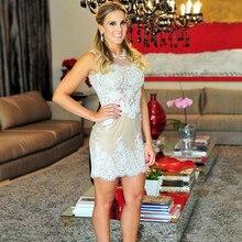 Elegante Nude Cocktailkleider Mit High Neck Weiß Spitze Appliques Perlen Homecoming Kleider 2016 Reizvolles Kurzes Abschlussball-parteikleider
