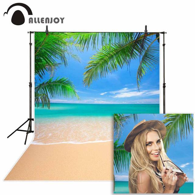 Allenjoy backdrop for photographic studio green palm tree tropical sand beach sea summer photo background fotografia photocall