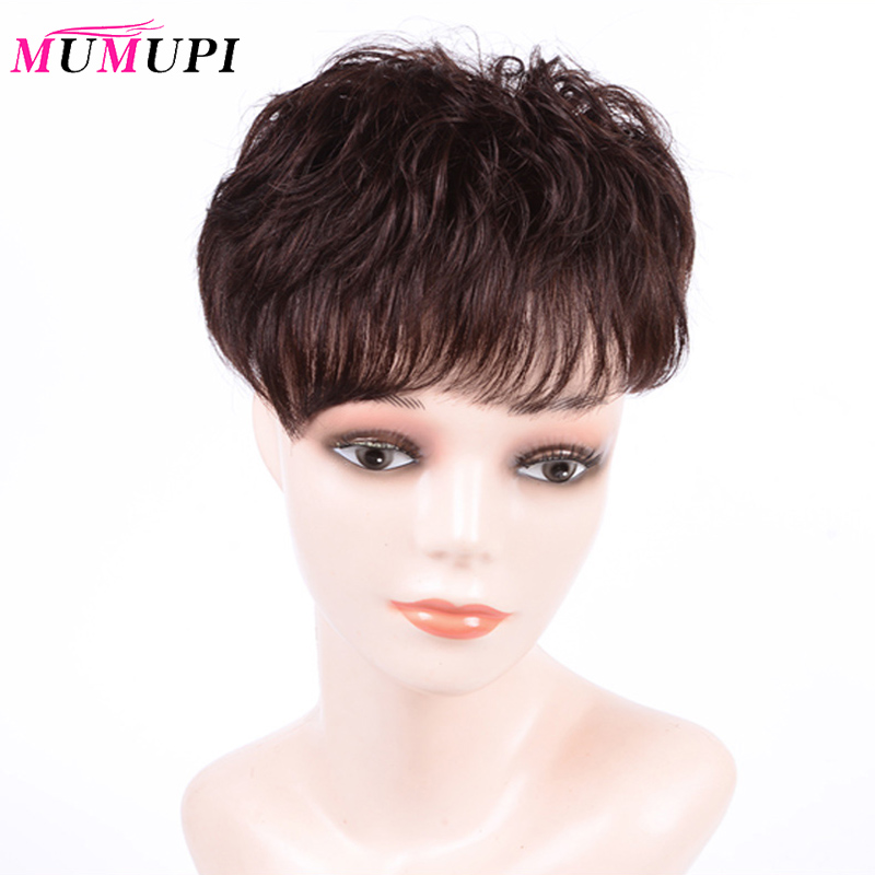 MUMUPI Women Curly human Hair Replacement short Clip Closure Hair Extensions Natural Topper Hairpiece Top Hair Piece
