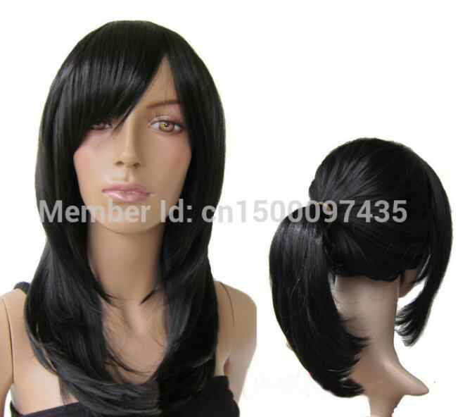 Парик термостойкие длинные черные прямые Косплей вечерние волосы парик натуральная оплетка конский хвост бесплатная доставка