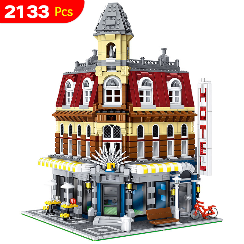 LELE City Street Cafe Corner Model Building Blocks Educational Gift Compatible LegoINGlys Creator House Toy for Children 2133pcs 4002pcs best large building blocks sets city street center rally square compatible legoinglys creator technic toys for children