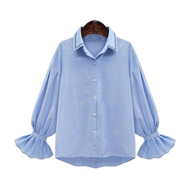 Chemises Taille Femmes La de 2017 Plus Flare Broderie Tops Manches KA6UEBHqg