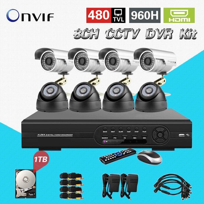 TEATE 8CH CCTV DVR Kit  DVR NVR HVR 3in1 video recorder System 960H realtime and IP66 color CMOS  1TB HDD CK-106 new cctv accessories 4000gb 3 5 inch hard disk 4tb 7200rpm 128mb sata internal hdd for desktop dvr recorder cctv system sk 243