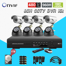 TEATE 8CH CCTV DVR Kit DVR NVR HVR 3in1 video recorder System 960H realtime and IP66 color CMOS 1TB HDD CK-106