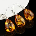 Women's Fashion Imitation amber Tear Drop Baltic Pendant Necklace Earring Wedding Jewelry Set L40701