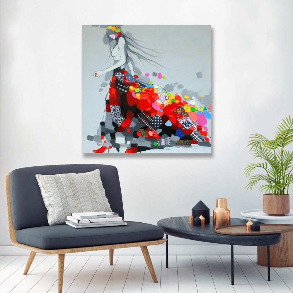 Colorful Dressing Girls Oil Painting Canvas Wall Art Painted on Canvas Art for Living Room  Wall Decor Painting Drop shippingColorful Dressing Girls Oil Painting Canvas Wall Art Painted on Canvas Art for Living Room  Wall Decor Painting Drop shipping