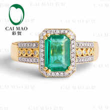 CaiMao 1.96 ct Natural Emerald 18KT/750 Yellow Gold  0.60 ct Round Cut Diamond Engagement Ring Jewelry Gemstone colombian