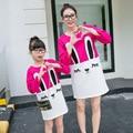 Mangas largas Madre Hija maman fille assorti Ropa Conejo Impreso Partido Trajes A Juego Madre y Niña Vestido vestito bimba
