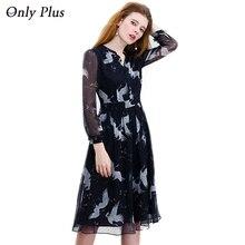 ONLY PLUS S-XXL Black Chiffon Dress Print Swan Transparent Fabric V-Neck Long Sleeve Women Dress Robe Sexy Casual Party Dresses