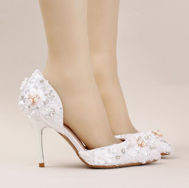 ФОТО New arrival white lace women wedding shoes pearl fashion bridal shoes women 9cm high shoes girl party pumps