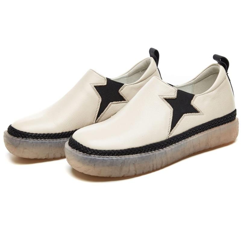 En Vente De Respirant Fond Été 2018 Femmes Cuir Chaussures Explosion Mode Mou Confortable Casual Nouveau Beige Tête Ronde noir Tendance wAWxAS4qZI