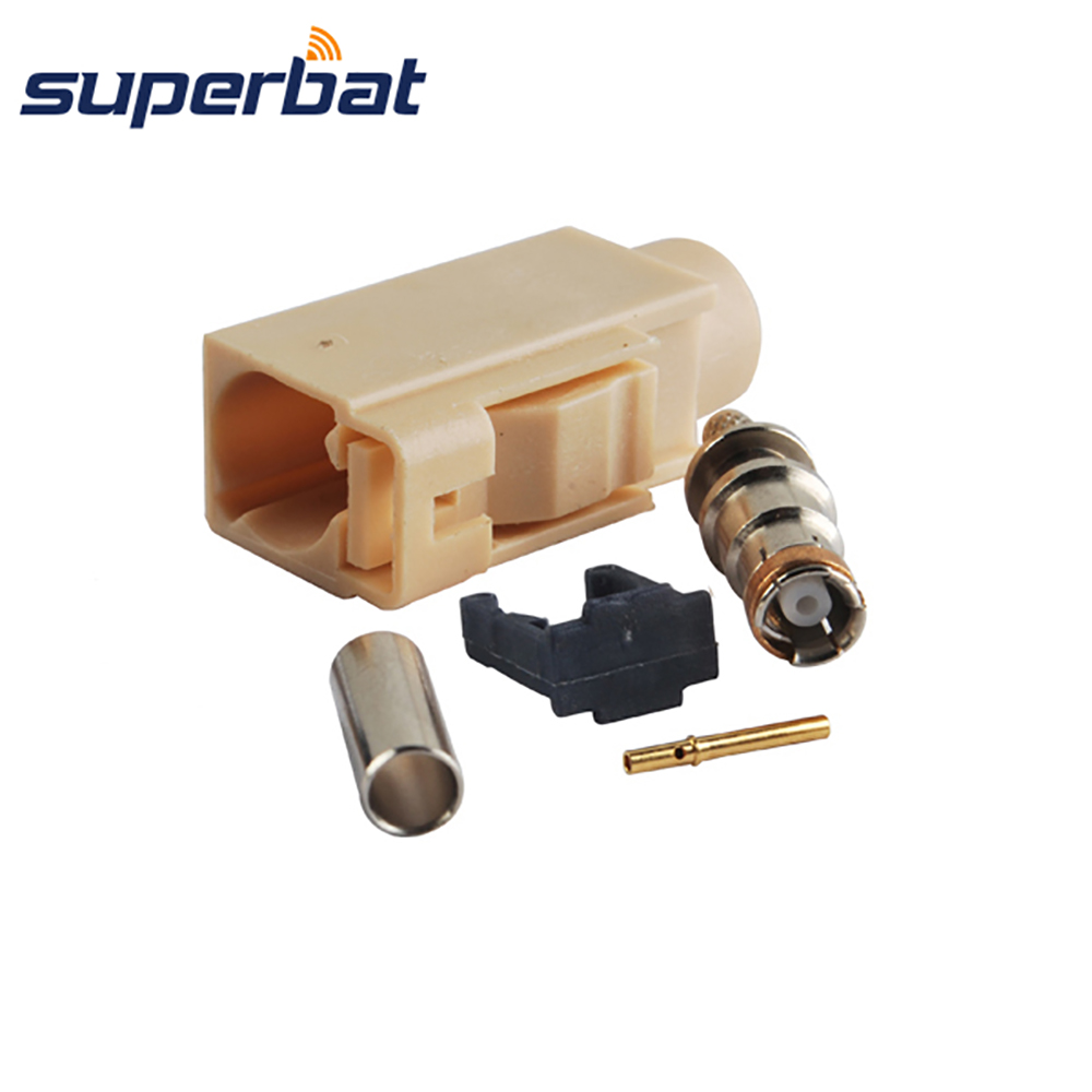 Superbat Fakra Code I- Beige/1001 Crimp Jack Female RF Coaxial Connector For Bluetooth For Cable RG316 RG174 LMR100