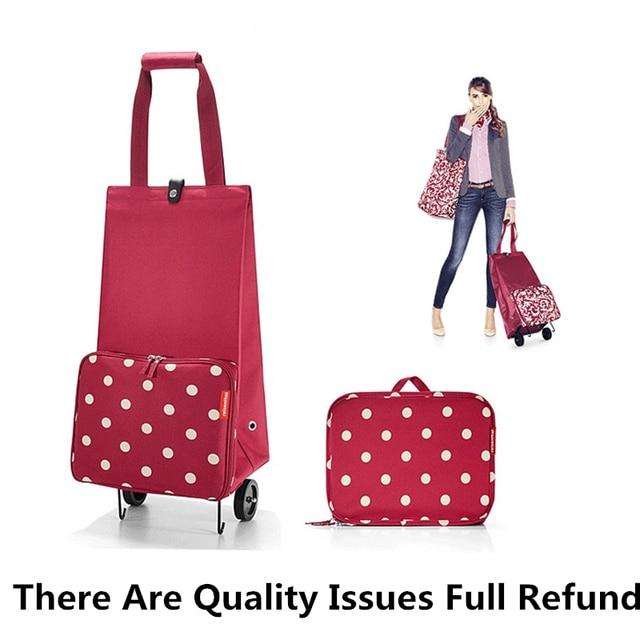 PLEEGA Folding Shopping Bag Shopping Cart on Wheels Bags Small Pull Cart Women Buy Vegetables Bag Shopping Organizer Tug Package