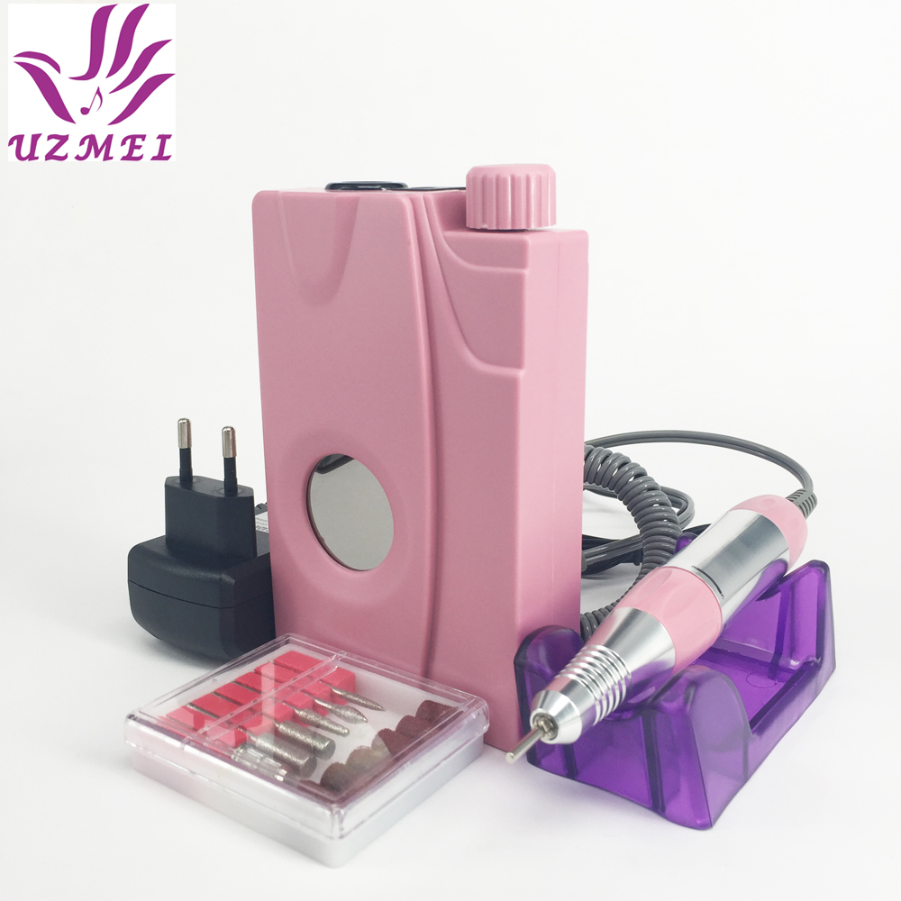New 110-240V Portable Electric Nail Drill Machine Acrylic Nail File Drill Manicure Pedicure Kit Set Rechargeable for Nail Tools pro powerful 25000rpm electric nail drill pedicure manicure machine set with pedal