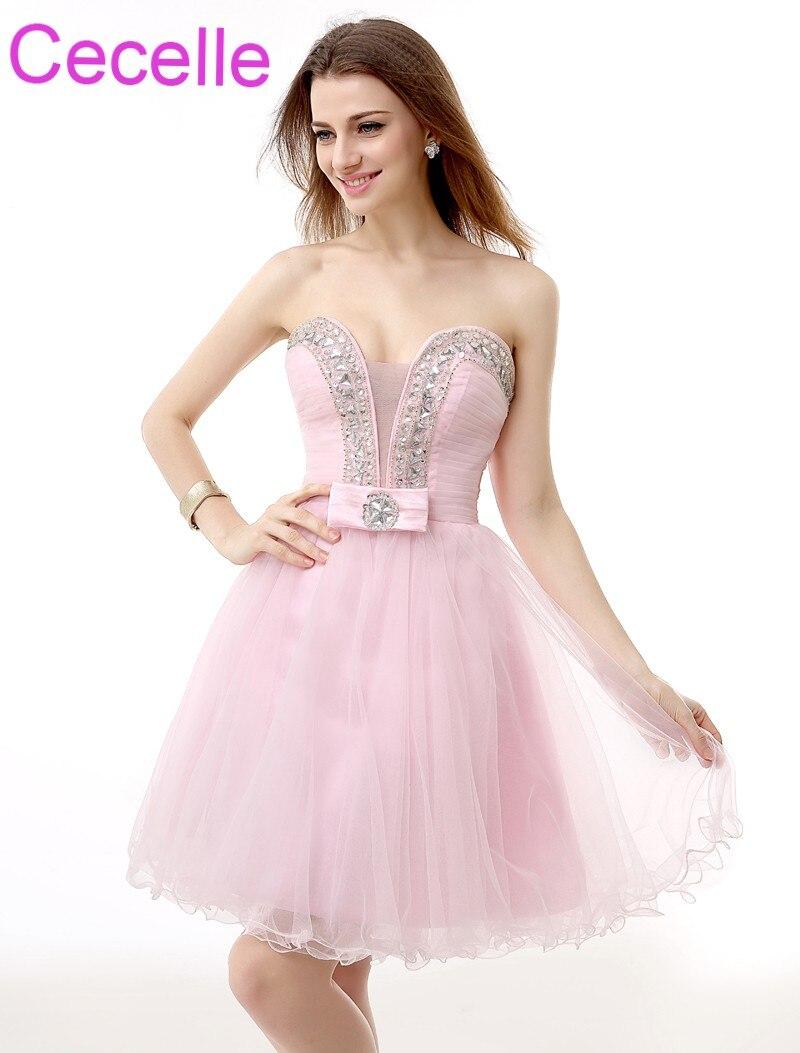 16f72d4a3176f28 Розовые короткие коктейльные платья 2019 милое вечернее платье, украшенное  бисером А-силуэт по колено