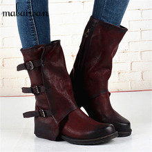 2017 Fashion Zipper Ankle Boots Women Snow Boots Genuine Leather Women Shoes Zapatos Mujer Vintage Shoes Women Martin Boots