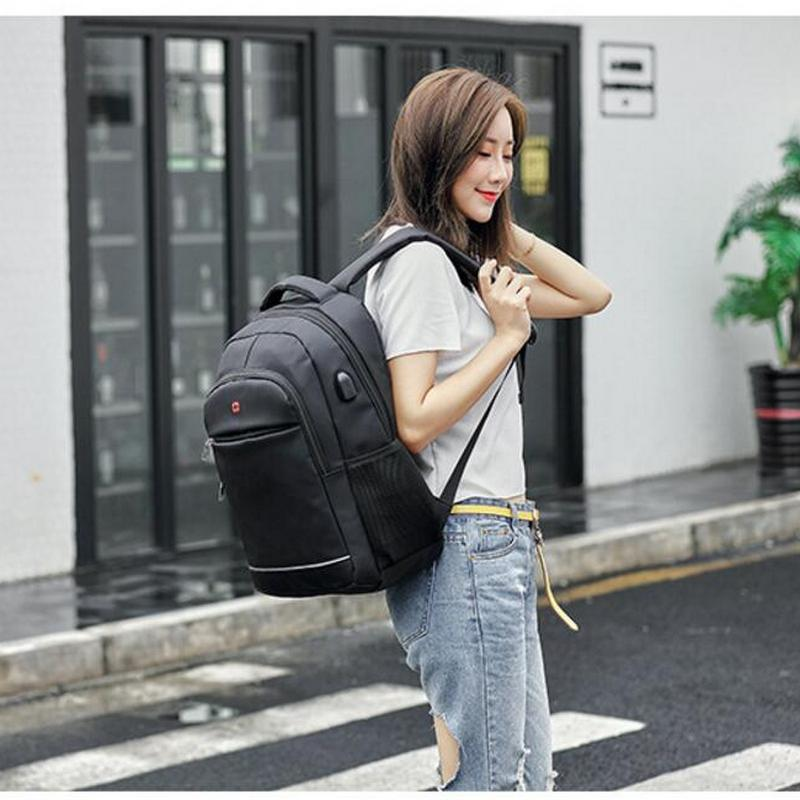 Image 5 - Charging USB teens School Bags for Teenage Boys Backpack men nylon black solid High Quality student SchoolBag Preppy Style 2019-in School Bags from Luggage & Bags
