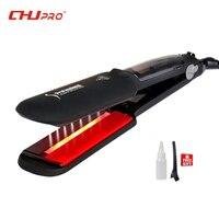 CHJ Ultrasonic Infrared Straightener Steam Hair Straightener Iron Ceramic Flat Iron Vapor Plate Chapinha Titanium Hair