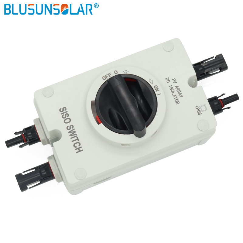 1 pcs lot High performance Solar Electrical DC Isolator Switch with 2 pairs MC4 Connectors for