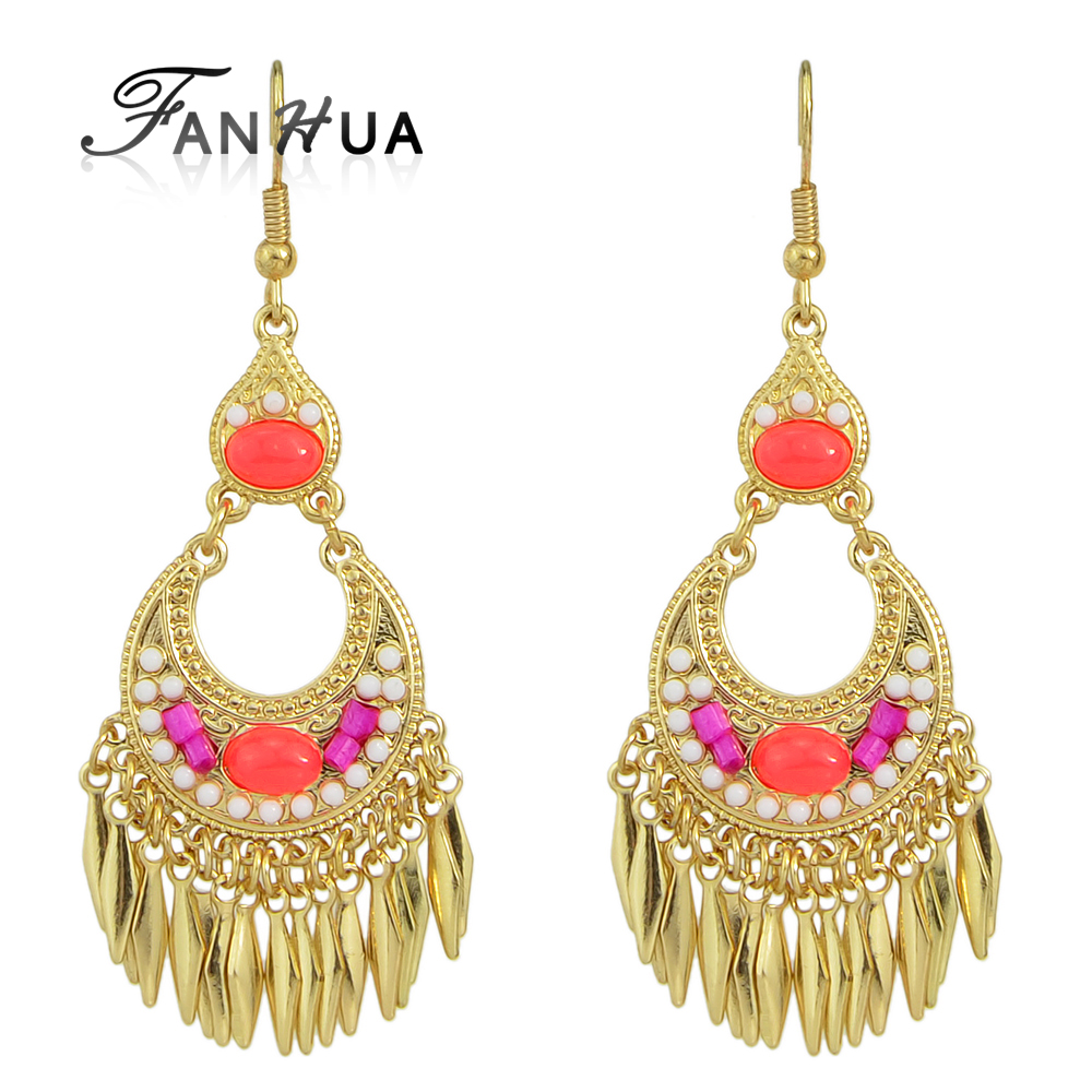 Aliexpress buy fanhua bohemian jewelry ethnic earrings gold aliexpress buy fanhua bohemian jewelry ethnic earrings gold color with red beads geometric round tassel female chandelier earrings palfashion from arubaitofo Images