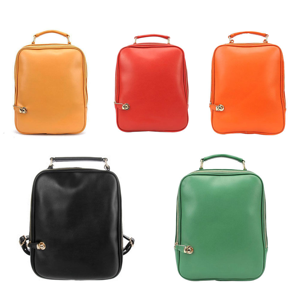 Fashion Candy Color Woman s Shoulder Bag PU Leather School Bag Sweet Backpack E2shopping LT88