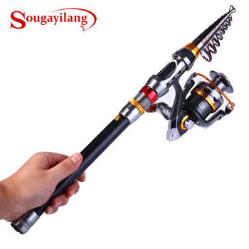 Sougayilang Telescopic Fishing Rod Spinning Fishing Reel PE Fishing Line Hook Lure Box As Gift Full Kit Rod Reel Line Combo Set