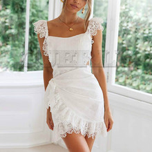 CUERLY 2019 Summer Lace Dresses Women Sexy Sleeveless Slim Cotton Backless Bow Tie White Embroidery Ruffles Dress Vestidos