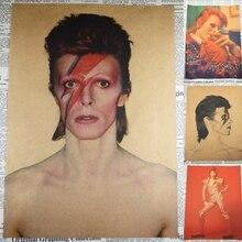 Póster de cantante de Rock David Bowie, banda de música de Rock Retro, papel Kraft, póster vintage, Bar, cafetería, comedor, pared de habitación decorativa