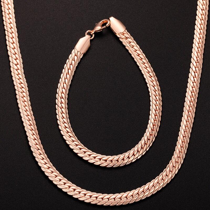 1 Set Mann Frau 6mm Echt Rose Gold Farbe Gefüllt Set Schmuck Armband Fischgräten Schlange Kette Set Mufti Optional (keine Rot Box)