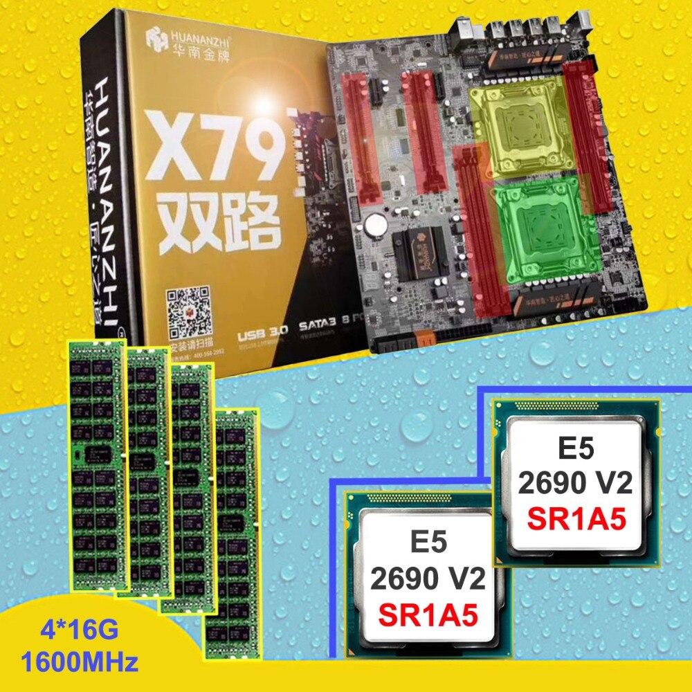 HUANAN ZHI double CPU X79 carte mère avec 6 SATA ports discount carte mère avec CPU Intel Xeon E5 2690V2 3.0 GHz RAM 64G REG ECC