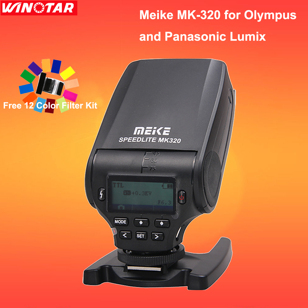 Meike MK320 TTL Flash Speedlite MK-320 for Olympus E-M10 OM-D E-M5 II E-M1 PEN E-PL6 E-PL7 E-P5 E-PL5 E-PM2 E-P3 E-PL3 E-PM1 mini flash light meike mk320 mk 320 mk320 c gn32 ettl speedlite for can 60d 7d 6d 70d dslr