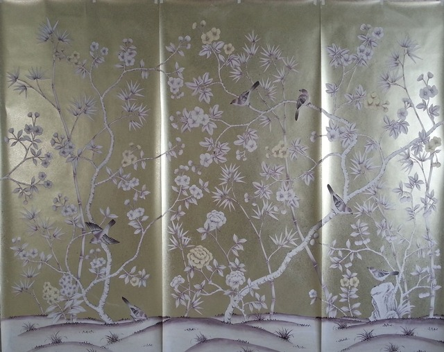 luxueux main peint argent feuille d 39 or papier peint peinture peinture fleurs avec des oiseaux de. Black Bedroom Furniture Sets. Home Design Ideas