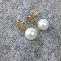 AINUOSHI 18 K Oro Amarillo Natural Cultivadas de agua dulce Pendientes de Perlas para Las Mujeres de La Boda Joyería Fina Pendientes Del Partido de Chistmas