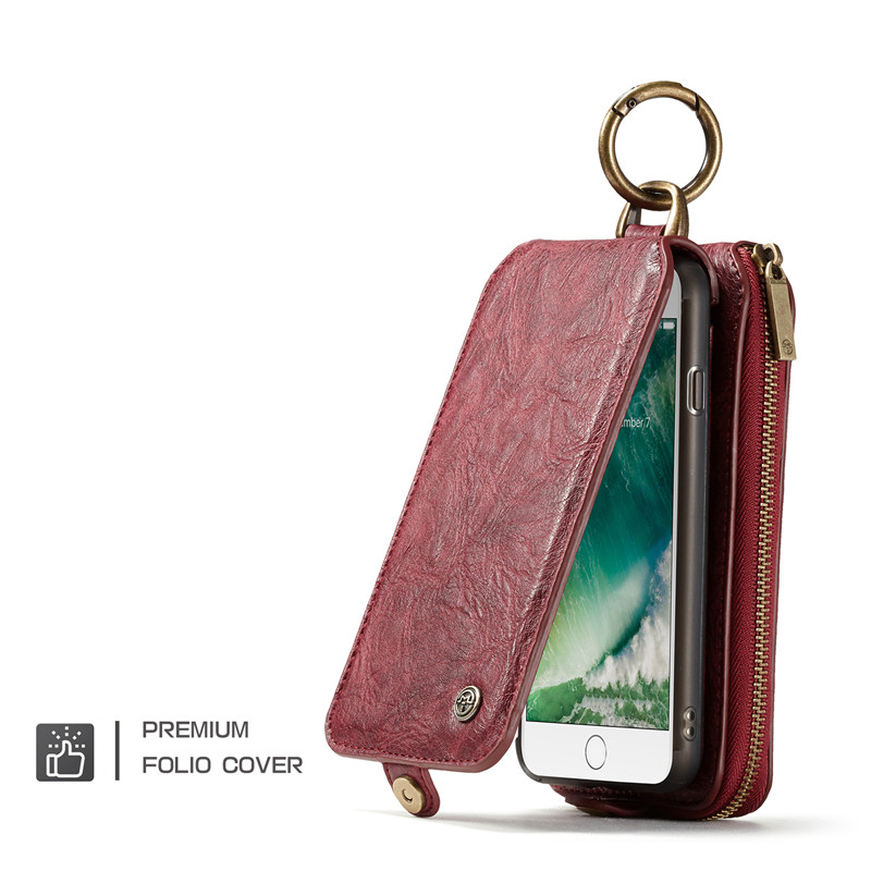 Luxury Flip Genuine Leather Case For iPhone 7 8 Case Multi-function 2IN1 Removable Magnet Stand Wallet Case For iPhone 8 Fundas