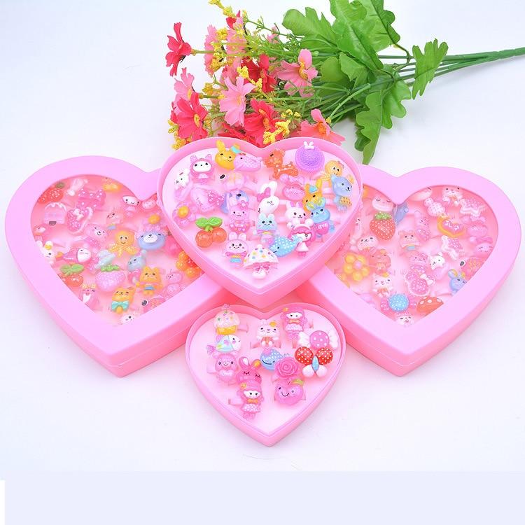 Children's Handmade Toy Plastic Cartoon Animal Flower Ring Resin Ring For Kindergarten Baby Prize Girls Gift