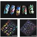 24 unids Mix Diseño Shinny Glass Broken Glass Nail Sticker Art Nail Láminas Adhesivas Pegamento Plástico Completa Wraps Láminas de Transferencia venta al por mayor