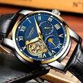 GUANQIN мужские часы Топ бренд класса люкс Tourbillon часы с скелетом мужские спортивные кожаные водонепроницаемые автоматические механические на...