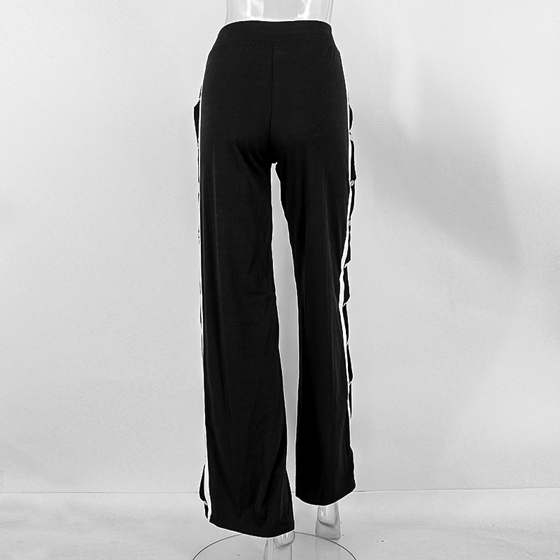 HTB1a24LSpXXXXb9apXXq6xXFXXXs - Red button track pants runway Women's wide leg trousers casual pants JKP012
