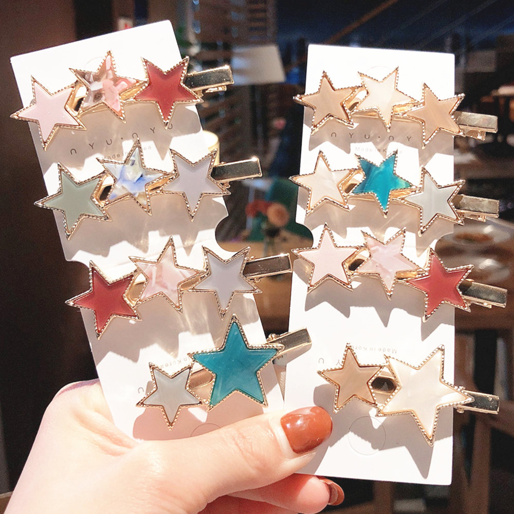Fashion Star Hair Clips For Women Vintage Geometric Alloy Hairband Elegant Girls Bang Hairgrip Barrette Hair Accessories