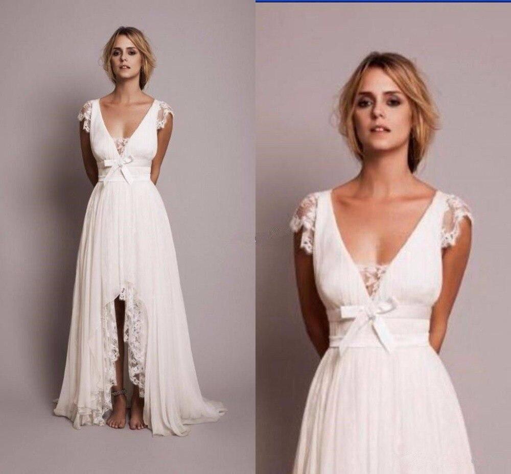 2017 Modest Brautkleider mit Spitze High Low Land hochzeit Kleid New ...