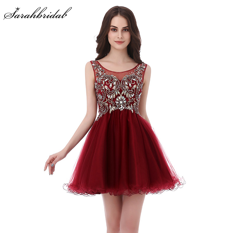 Short Homecoming Dresses Sexy Sheer Crystal Beads Sequins Tulle A-line Party Gowns 8th Grade Formal Vestido De Formatura LSX142