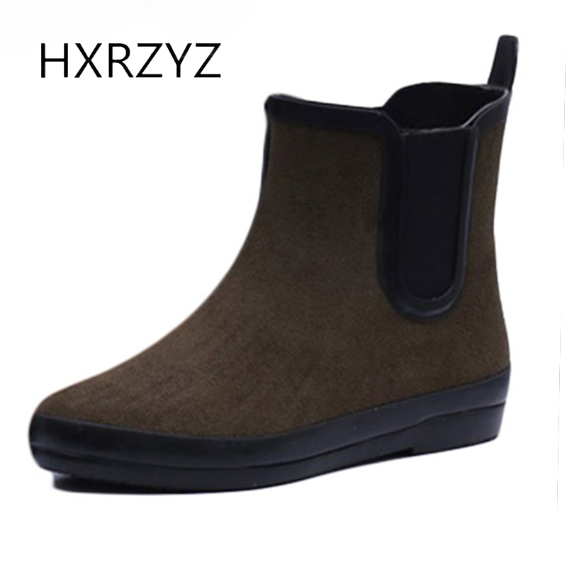 HXRZYZ women chelsea boots simple ankle rain boots spring/autumn female new fashion slip-resistant waterproof women rubber boots large size spring autumn fashion shoes women rain boots female elastic band slip resistant ankle boots waterproof rubber boots